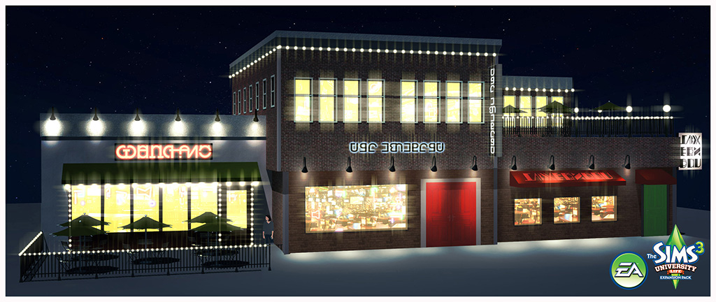 sims 3 university life sports bar exterior by
