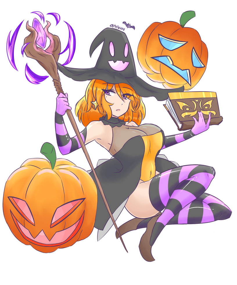 Pumpkin Witch by JustPlainAni