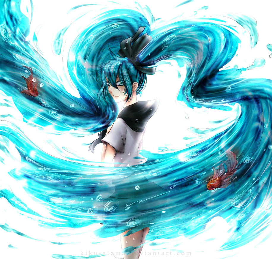 Miku and goldfishes by kiku-atama