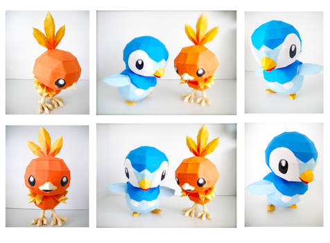 Piplup and Torchic Papercraft