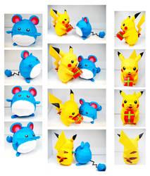Pikachu and Marill Papercraft