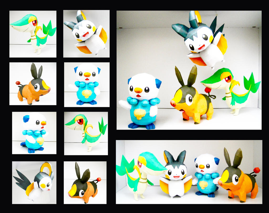 Unova Region's Starters and Emolga by thepapersmith