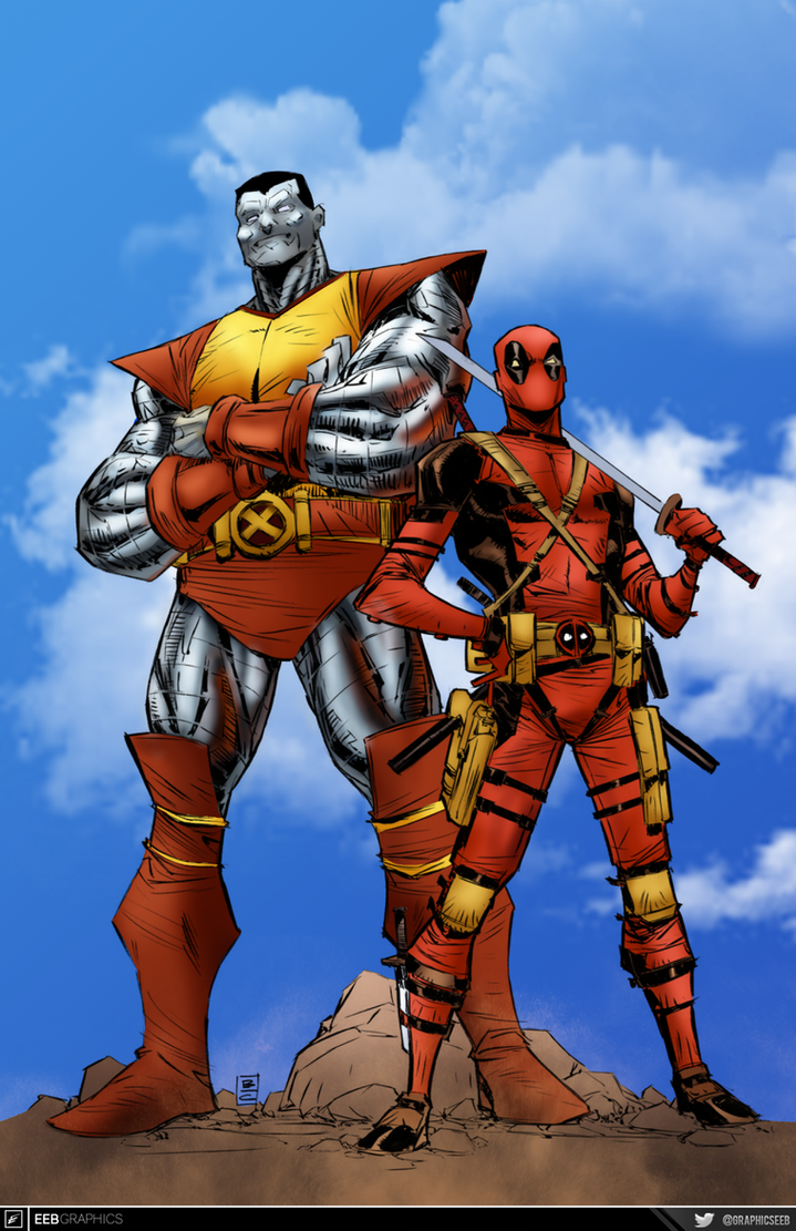 Deadpool and Colossus by comic-eeb