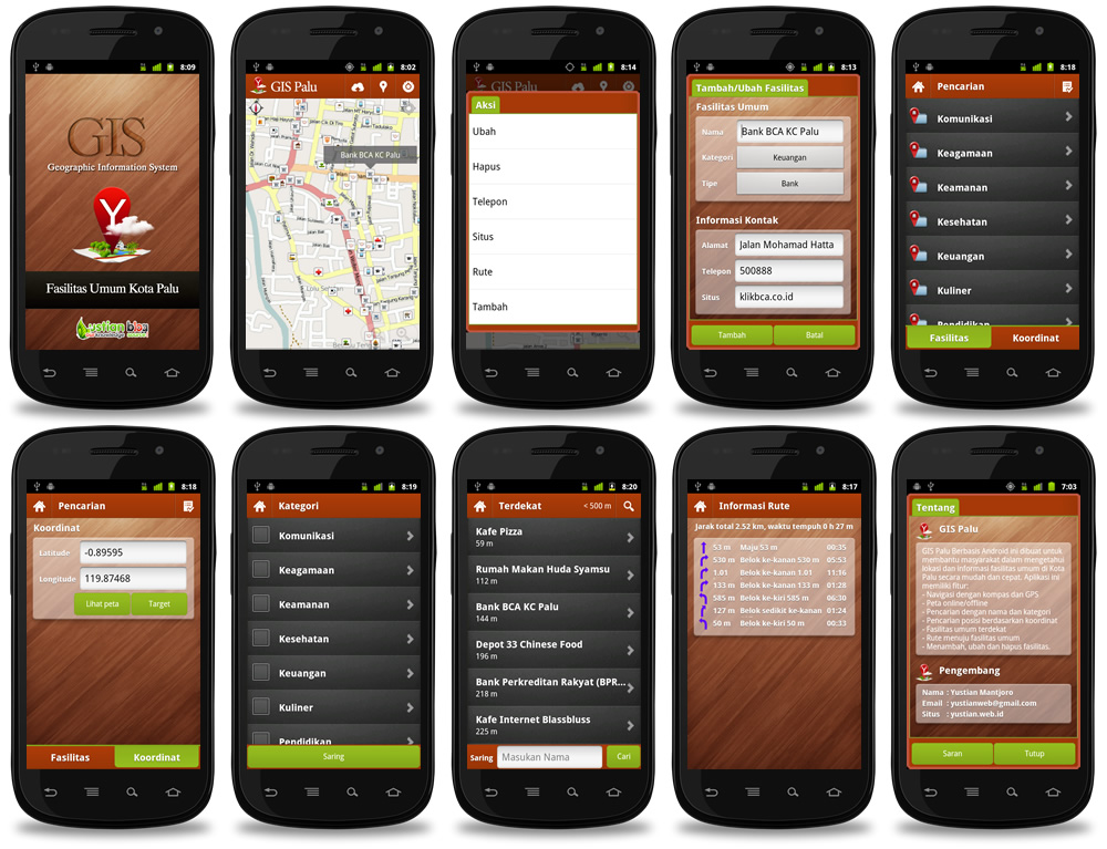 ygis palu android 23 apps interface design by yustianart