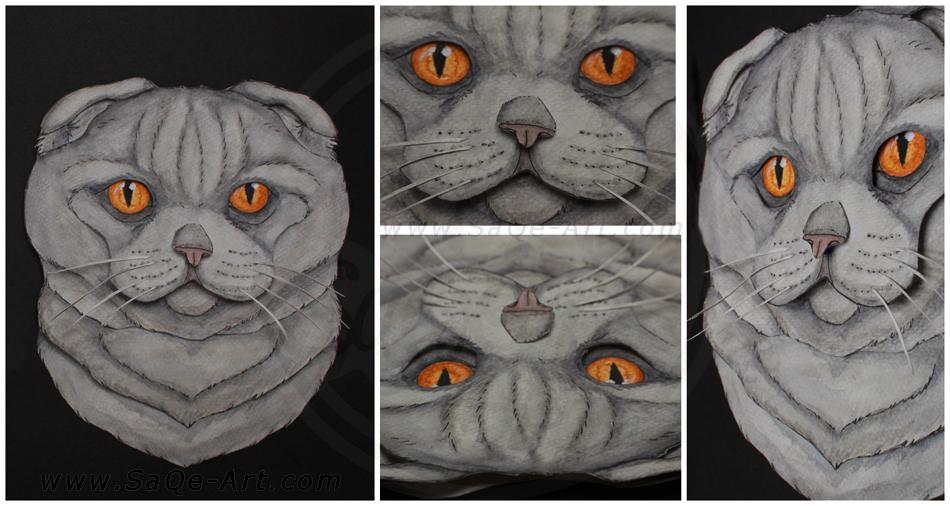 Commissions: 3D - Portrait - Scottish Fold by SaQe