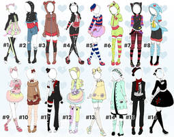 Cute outfit batch 2 closed! Thankyou! by Toki-Doki-Adoptables