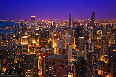 Chicago skyline at night v2 by Nightline