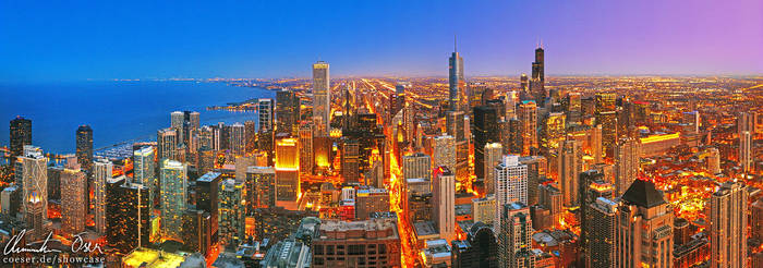 Chicago Skyline Panorama by Nightline