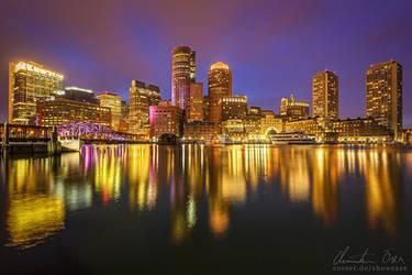 Boston Downtown Skyline by Nightline