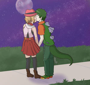 Commission: Serena and Godzilla