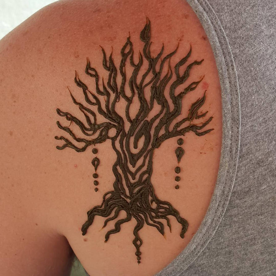 Henna Tree Shoulder by flowerwills
