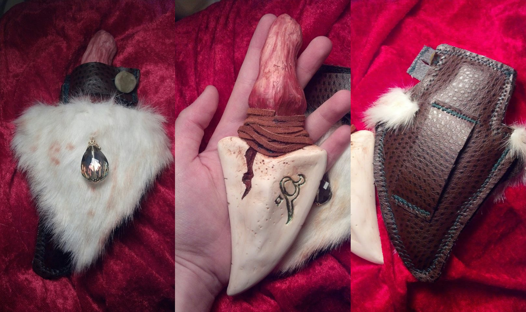 Ornate Fur Sheath and Dragon Tooth Dagger by SmileyVamp