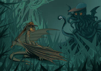 Smaug in R'lyeh playing baseball by Autumnology