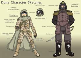 Dune character art - Fremen and Imperial Sardaukar by SRegan