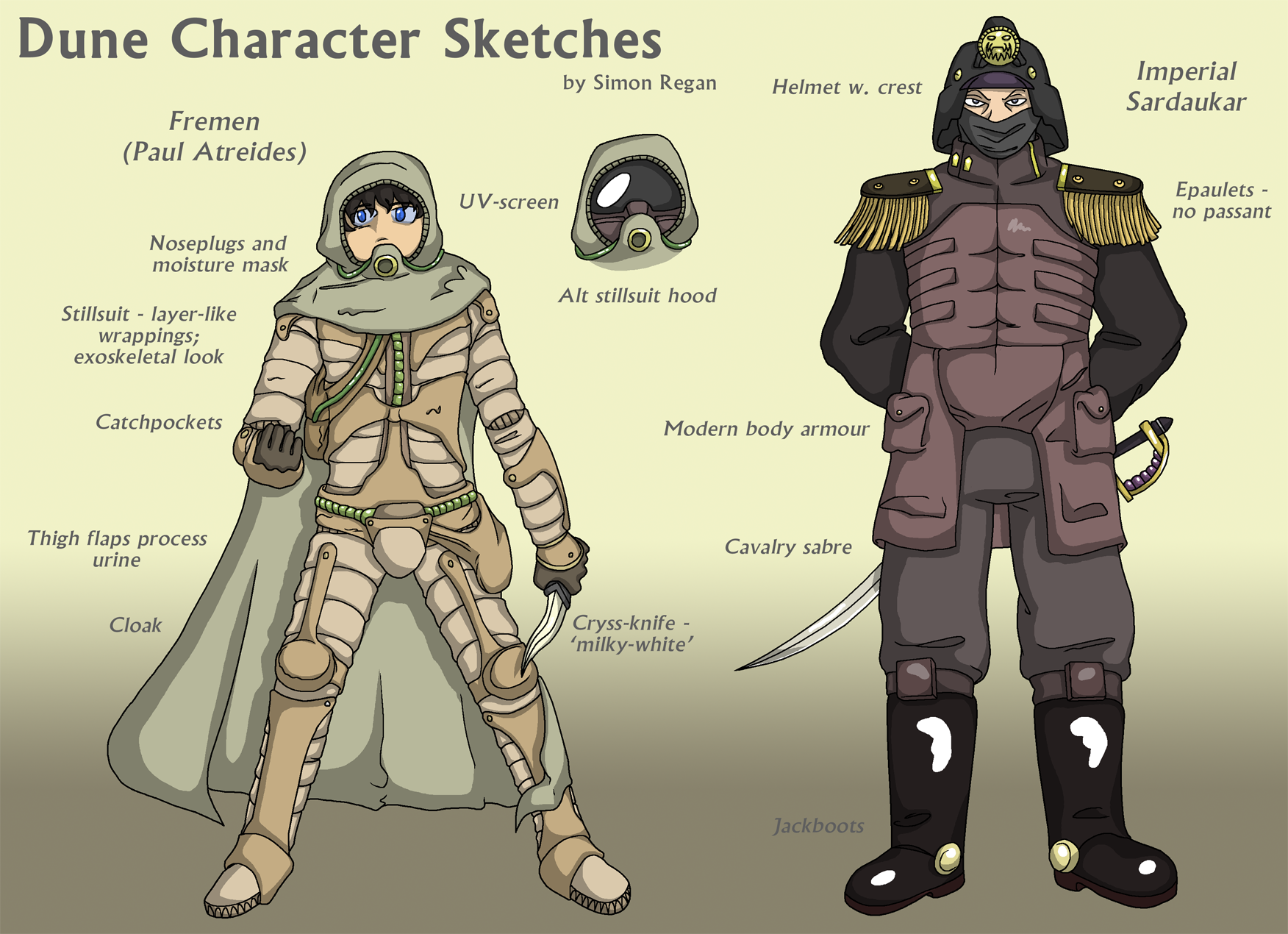 Character Design Book 2015 : Dune character art fremen and imperial sardaukar by