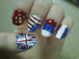 Allied Powers Nail Art by Ginger-Curls