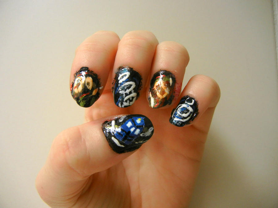 Nails that curl beautify themselves with sweet nails tardis nail art by ginger curls on deviantart prinsesfo Choice Image