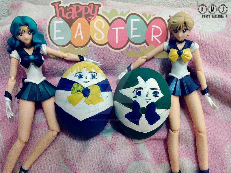 Sailor Neptune and Sailor Uranus with easter eggs by MichiruPLANET