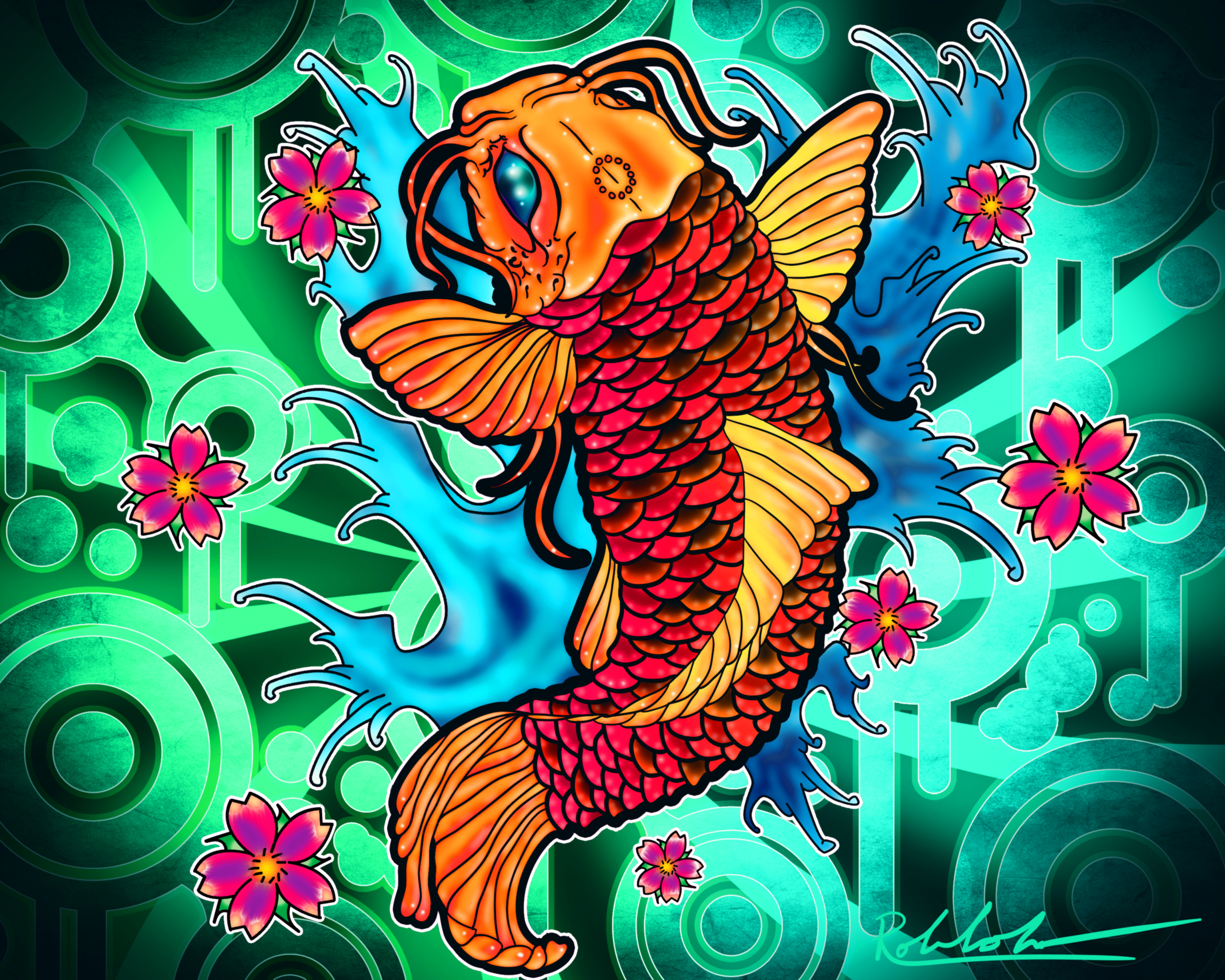 A koi fish having a dream by rowlee on deviantart for Koi wallpaper for walls
