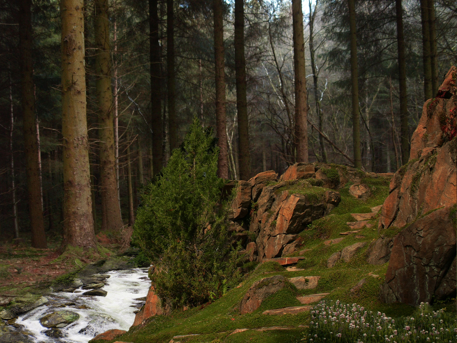 Hill by the Stream Premade Background
