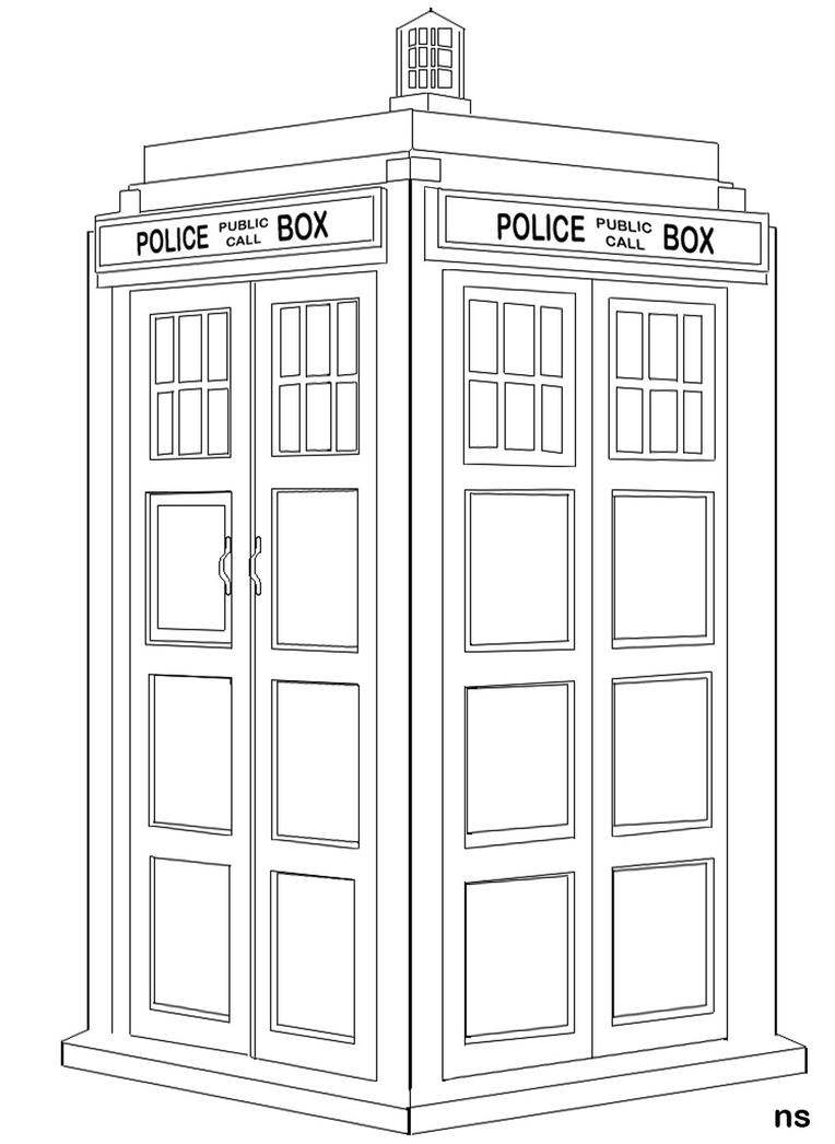Tardis Free Colouring Pages Tardis Coloring Page