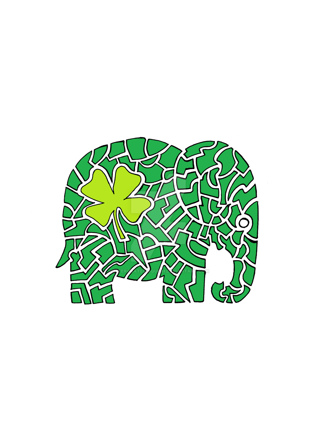 denis the lucky 4 leaf clover elephant by intergrated squish on