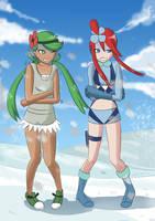 Skyla and Mallow freezing by DunbyKitsunee