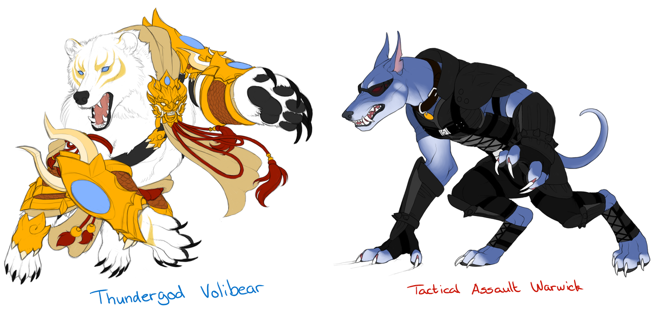 Volibear + Warwick skins by SleepyFoxes