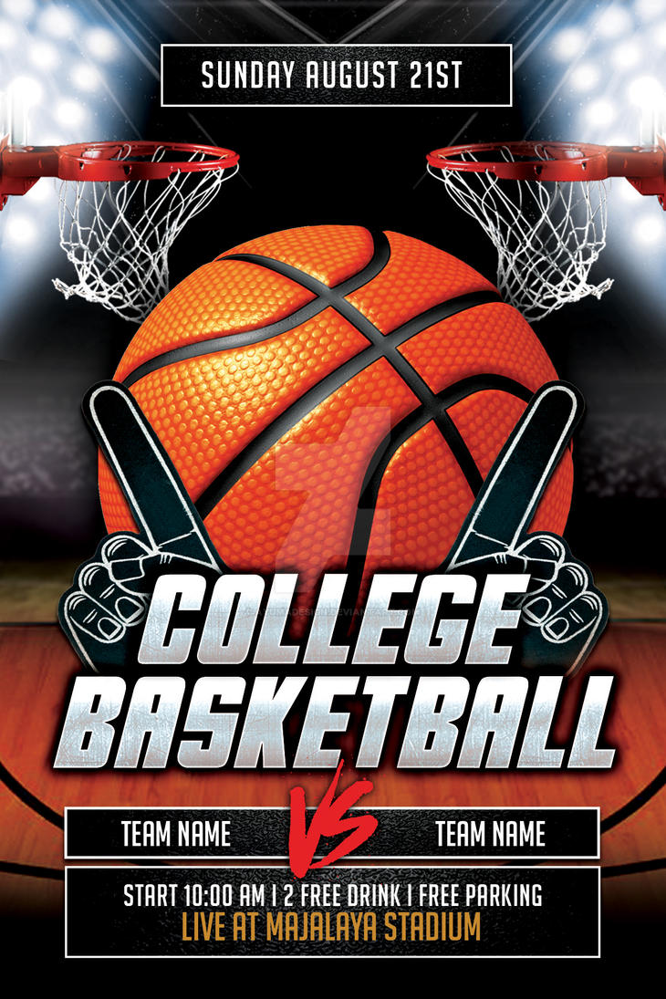 college basketball flyer template by ayumadesign