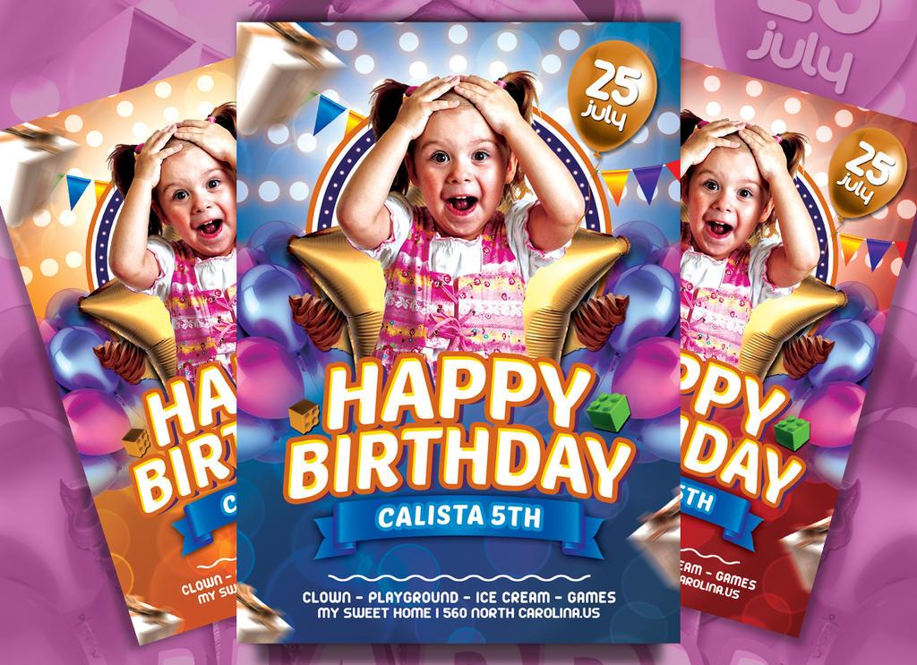 Snap Kids Birthday Flyer Template By Ayumadesign On Deviantart