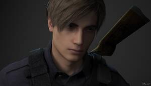 Leon RE2 Remake Portrait by SparkyInTheMoonlight