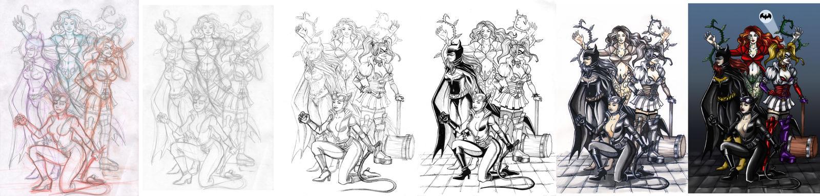 Batman girls process by Valaquia