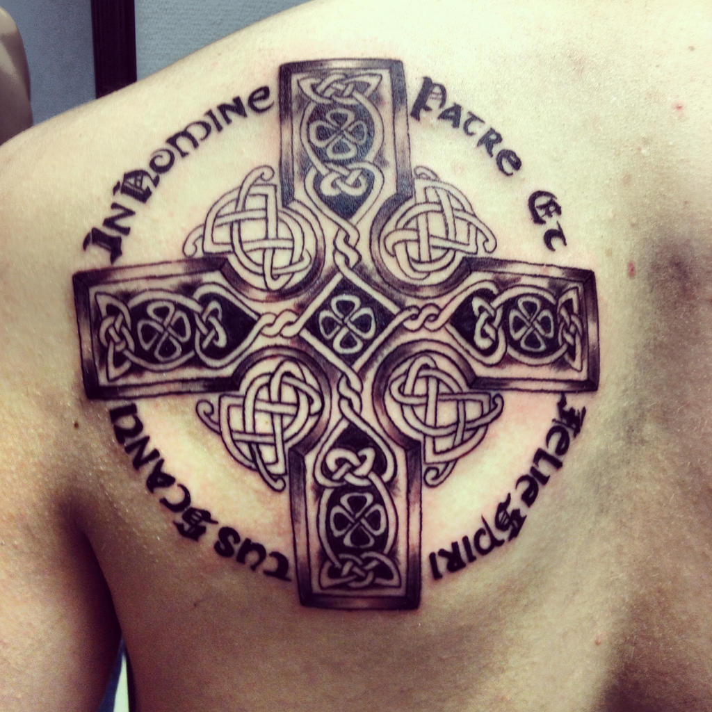 Celtic cross boondock saints prayer by klockwoodtattoo on for National guard tattoo policy