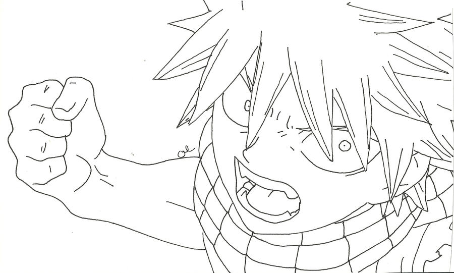 natsu uncolored by westernaires on deviantart