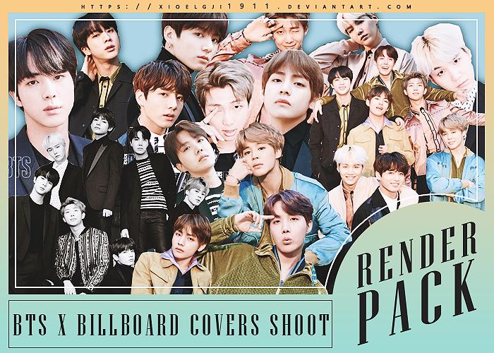 Render Pack /// BTS x Billboard Covers Shoot by Xioelgji1911
