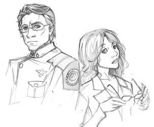 Adama and Roslin by ChrissyDelk