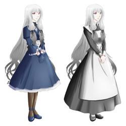 Linnaea full body + maid ref by Fortranica