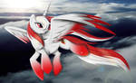 flight of the red and white alicorn