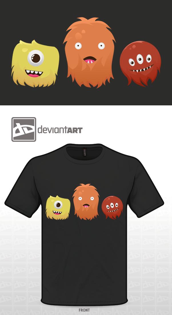 Cute Monsters T Shirt Design