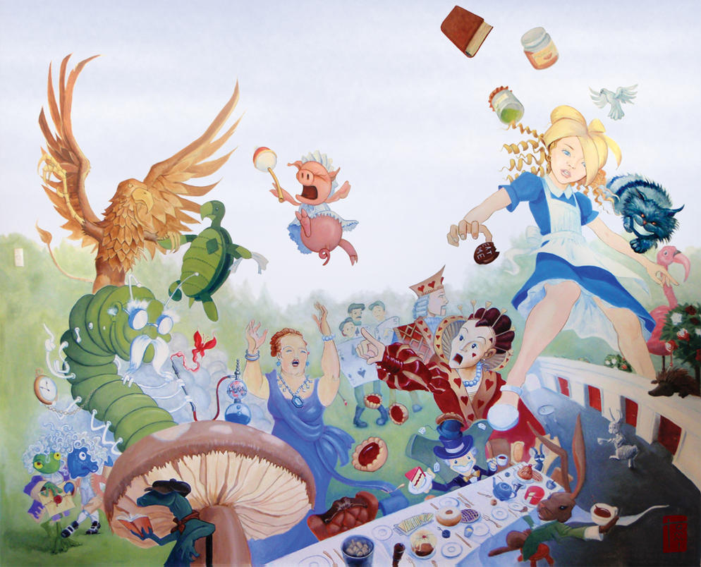 Alice in wonderland mural by tommi 75 on deviantart for Alice in wonderland wallpaper mural