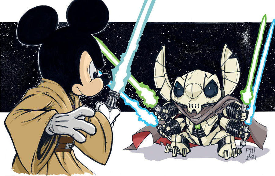 Jedi Mickey vs General Stitch by Hodges-Art