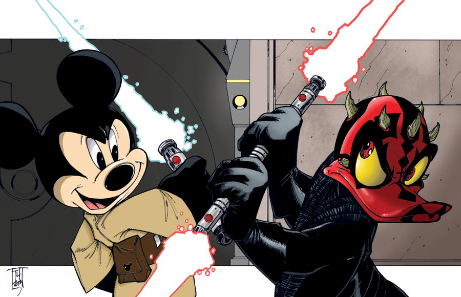 Jedi Mickey vs. Donald Maul Color by Hodges-Art