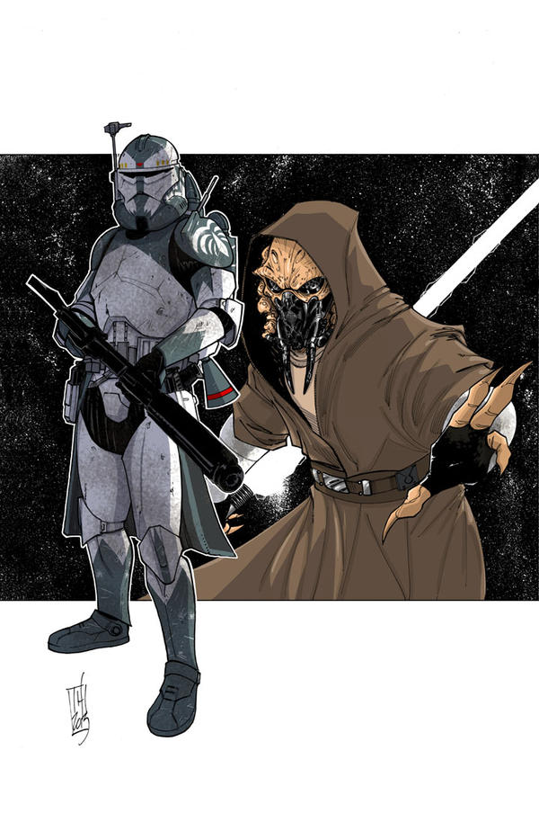Commanders and Generals: Wolffe and Plo Koon Color by Hodges-Art