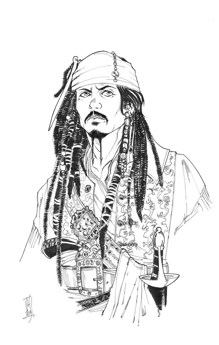 jack sparrow coloring page - captain jack sparrow by hodges art on deviantart