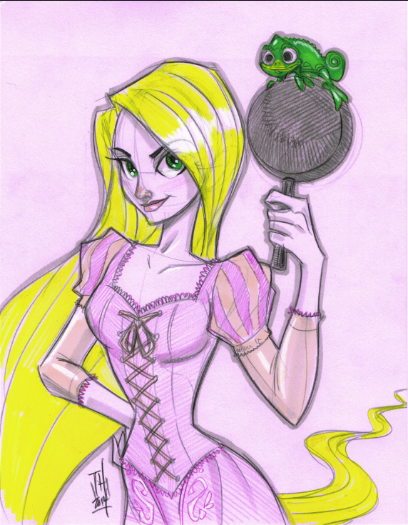 Warm Up 2, 1-2-2014 Rapunzel from Tangled by Hodges-Art