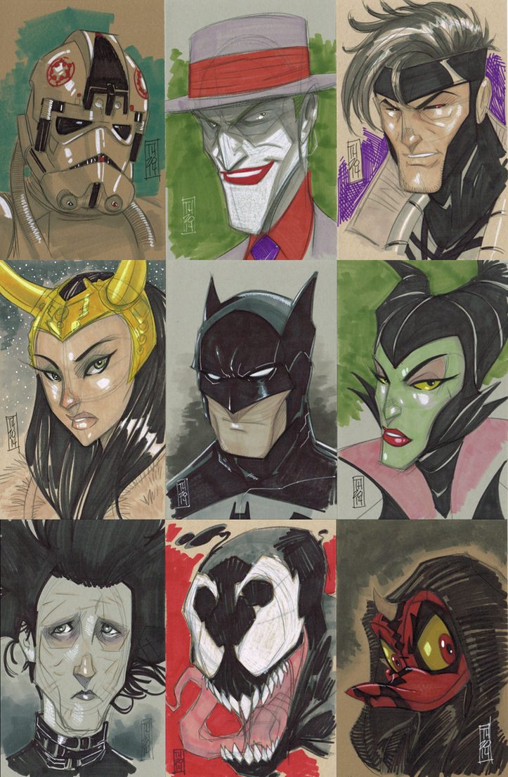Various head sketches by Hodges-Art