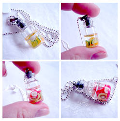 Fruit salad bottles necklace