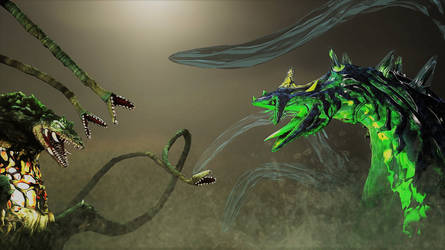 giant plant boi vs giant water boi by Hesei-Pikmin