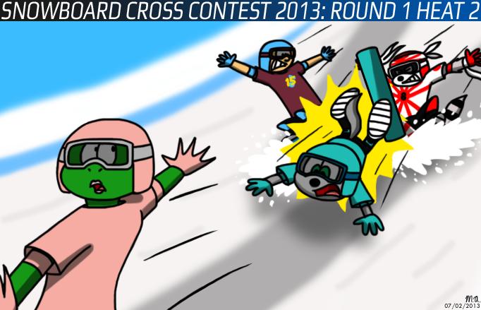 Snowboard Cross Contest 2013: Round 1 Heat 2 by BluebottleFlyer