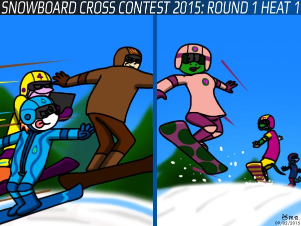 Snowboard Cross Contest 2015: Round 1 Heat 1 by BluebottleFlyer